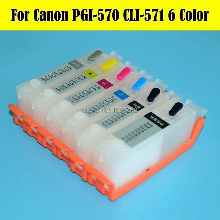 ФОТО 6 Color Refill Ink Cartridge For Canon PGI-570 CLI-571 For Canon PIXMA MG7750 MG7751 MG7752 MG7753