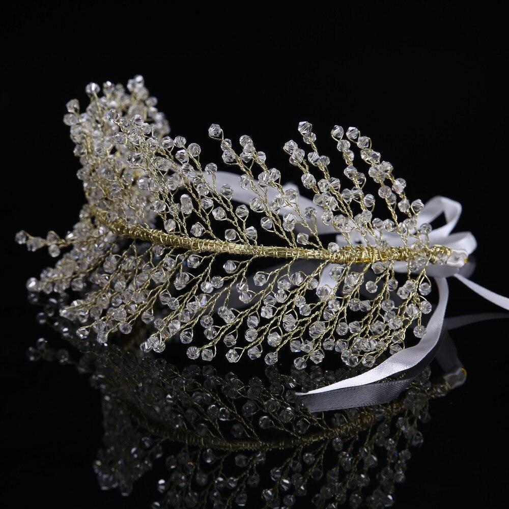 High Quality Shiny Clear Crystal Bridal Wedding Accessories Women Beads Rhinestone Leaf Tiaras Crown for Women FD211