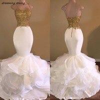 סקסי בת ים שמלה לנשף עם זהב לבן אפליקציות גב פתוח שמלת ערב רכבת נפוחה רצועת ספגטי נשים אפריקאיות Abendkleider