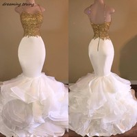 Sexy Mermaid White Prom Dress With Gold Appliques Open Back Spaghetti Strap African Women Evening Gown Puffy Train Abendkleider