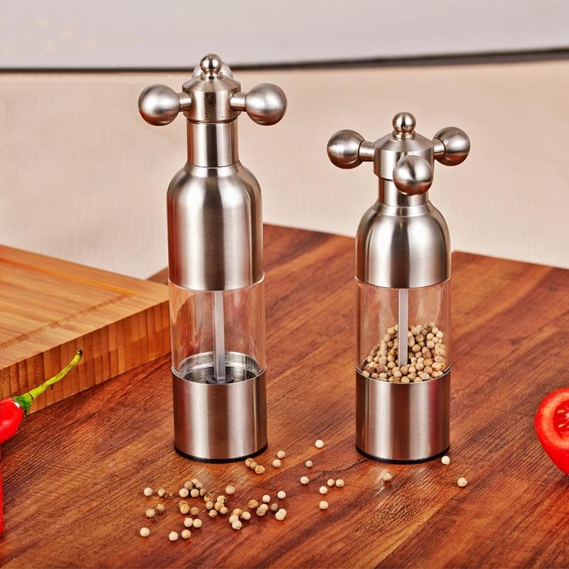 Stainless steel pepper Faucets grinder manual black pepper grinder Salt grinding seasoning bottle