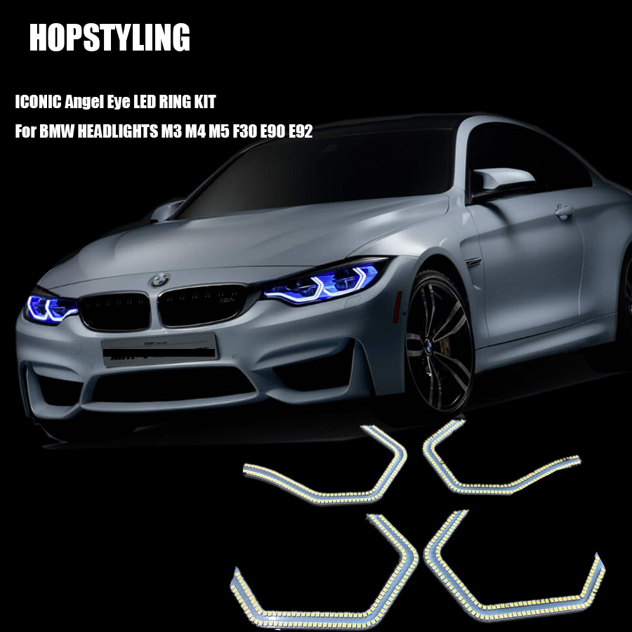 HOPSTYLING 1SET SMD Angel eyes for BMW F30 3Series 2013 M3 M5 E90 M4 Style HaloRing LED Headlight Car-Styling 5 3 4 led headlight for triumph rocket iii 3