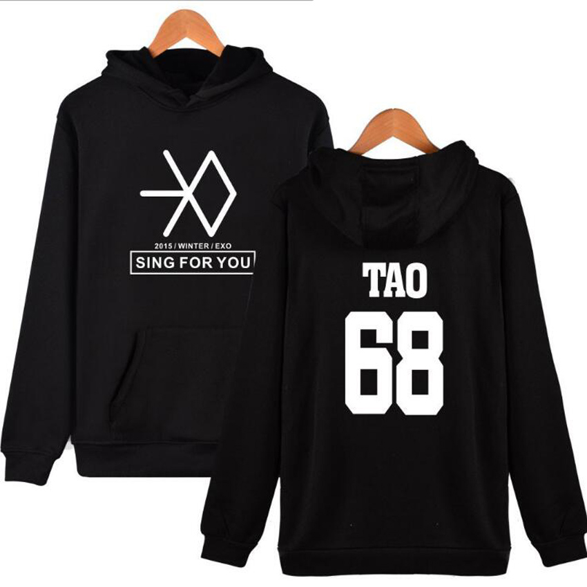 Streetwear Plus Size XXXXL kpop exo Letter print Hoodies For Men Women Unisex Hip Hop Harajuku hooded sweatshirt hoody Clothing