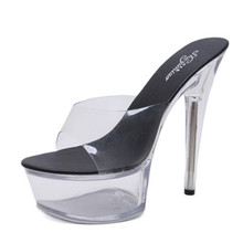 Sandals Shoes Woman High heel 15cm Slippers Catwalk Shoes Sexy Hentian Nightclub Transparent Thin Thick Sandals Wedding Shoes