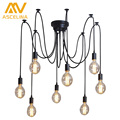Retro Loft Black Spider Pendant Lights Adjustable Vintage Pendant Lamps Industrial Ceiling Lamps Edison Light Bulb