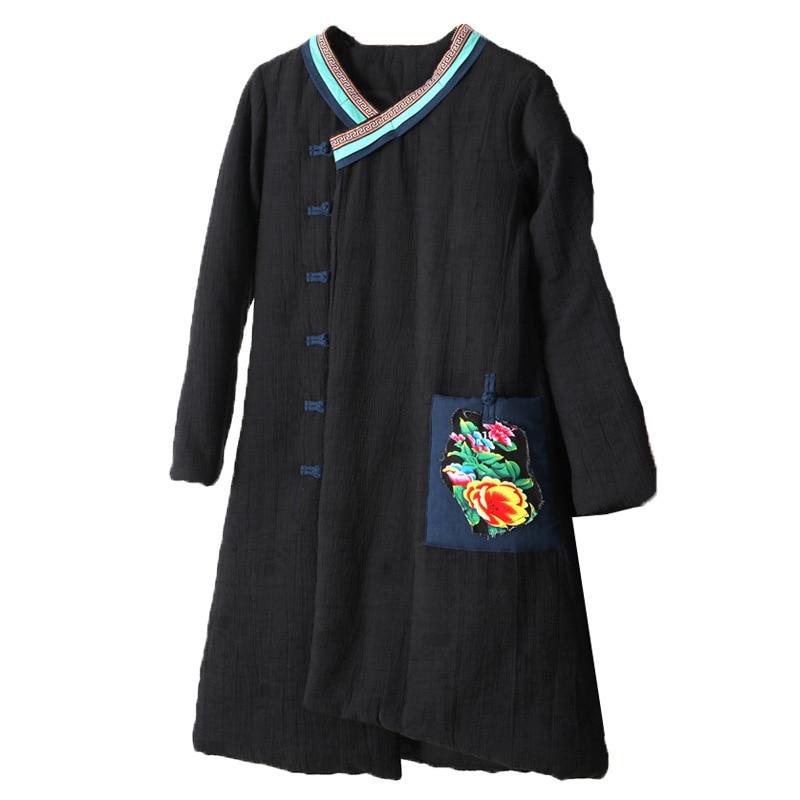 2018 Coton rembourré Coton Lin Ethnique bleu D'hiver Moyen Automne Longueur Et pourpre Vêtements D168 Rétro Nouveau Noir Manteau Femmes Littérature Style 0g8r047