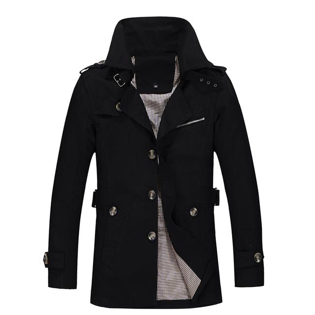 La moda de estilo británico solo pecho hombres gabardina 5xl abrigo de cuello de pie casual CQF801