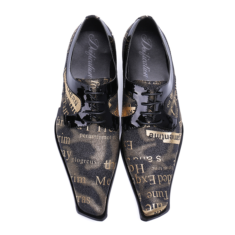 Chic Calzado Hombre Graffiti Letter Printed Men Casual Leather Shoes Italy Design Lace Up Men Oxfords Shoes For Men Chaussures