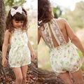 Pretty Girls Floral Mono Corto Pantalones Cortos de Encaje de Una sola pieza Niños Bab Ropa 2-7Y