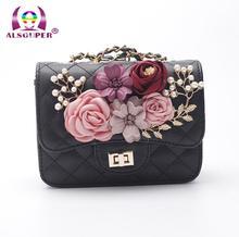 2017 Floral Perle Messenger Bags Frauen Weiß Marke Gesteppte Leder Handtasche Kette Umhängetasche Plaid Frauen Flap Crossbody Tasche
