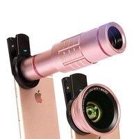 Kit lentes de Telefone Universal 18X lente Zoom Telefoto 0.6X Ampla 15X Macro Lente HD Para O Iphone 7 6 S Samsung S7 Smartphone borda lente