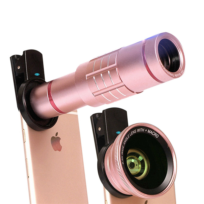 imágenes para Lentes de Teléfono Universal kit 18x lente Gran Angular 0.6X de Ancho 15X Macro Lente de ALTA DEFINICIÓN Para El Iphone 7 6 S Samsung S7 edge Smartphone lente