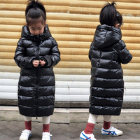 Boys Down Jacket Girls Winter Down Jacket Kids Solid White Duck Down Long Coat Girls Hooded Thick Down Jacket Black
