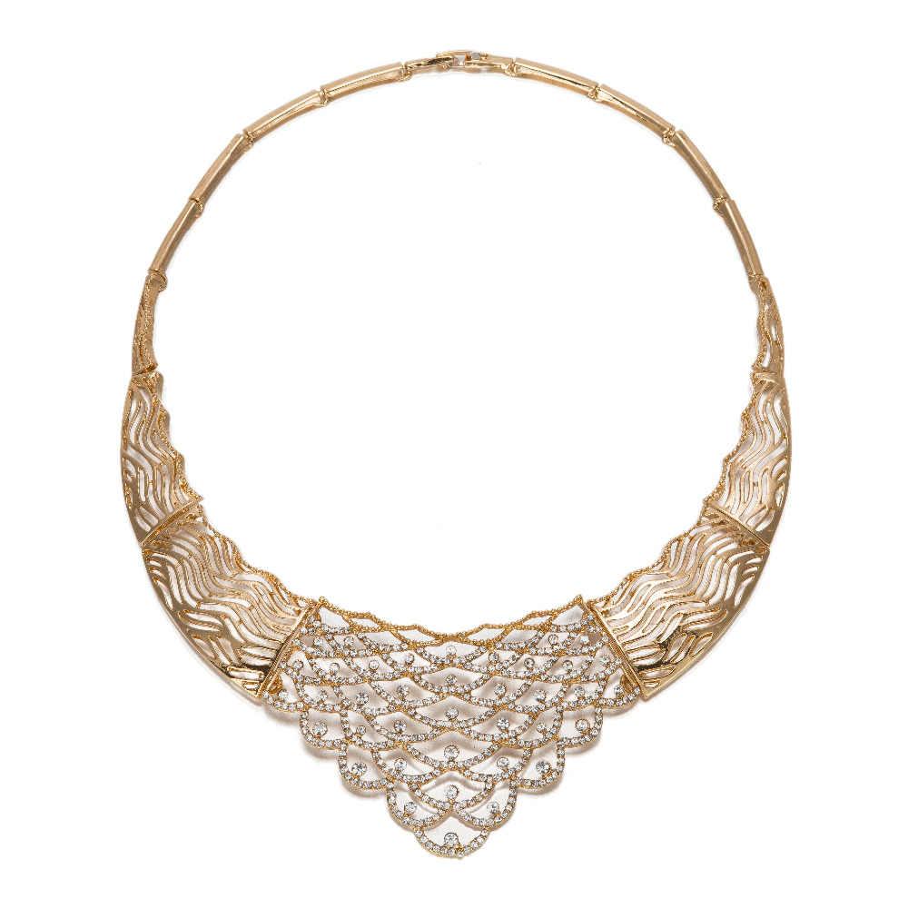 MUKUN Afrikanische Nachgeahmt Kristall Schmuck Sets Für Frauen Luxus Hochzeit Set Erklärung Halsketten-ohrringe Party Zubehör