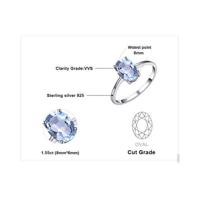 JewelryPalace Oval 1.5ct Natural Sky Blue Topaz Birthstone Solitaire Ring 925 Sterling Silver Fine Jewelry For Women On Sale