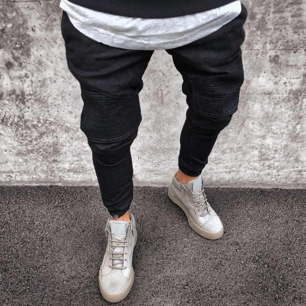 2019 Men Distressed jeans pleated skinny biker trousers black blue jeans Denim Trousers For Male slim fit hip hop jeans men pant