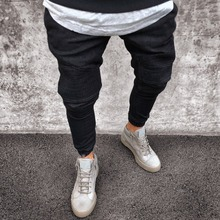 2018 Men Distressed jeans pleated skinny biker trousers black blue jeans Denim Trousers For Male slim fit hip hop jeans men pant cheap MJ006 Full Length Pencil Pants Distressed Light High Coated Punk Style Midweight Regular Solid Zipper Fly
