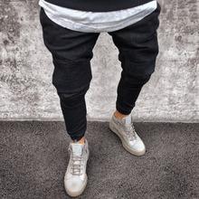 2018 mężczyźni trudnej sytuacji dżinsy plisy chudy spodnie Biker czarne niebieskie dżinsy Denim spodnie dla mężczyzn Slim fit hip hop Jeans mężczyzn PANT tanie tanio MJ006 Pełna długość Spodnie ołówkowe Niepokojona lekka Plisowana Wysokiej Powlekane Styl punk Midweight Regularne