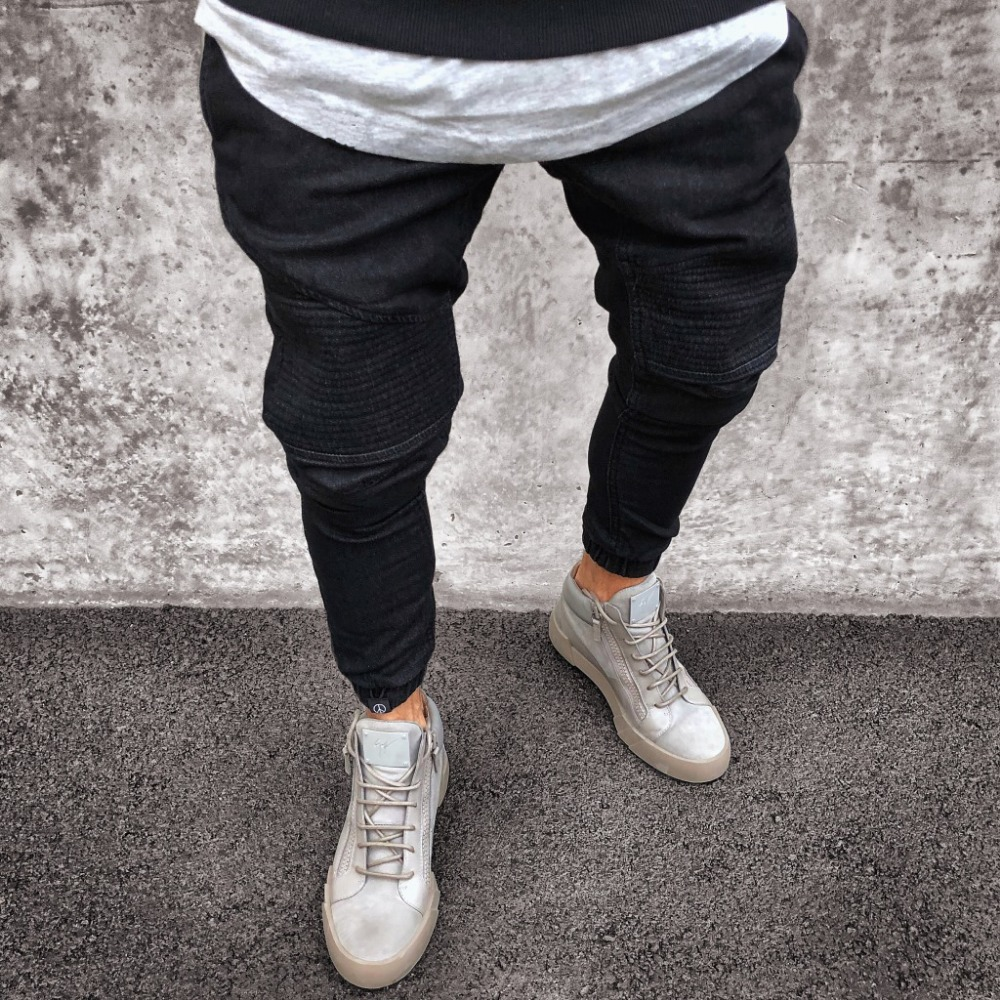 2019 Men Distressed jeans pleated skinny biker trousers black blue jeans Denim Trousers For Male slim fit hip hop jeans men pant