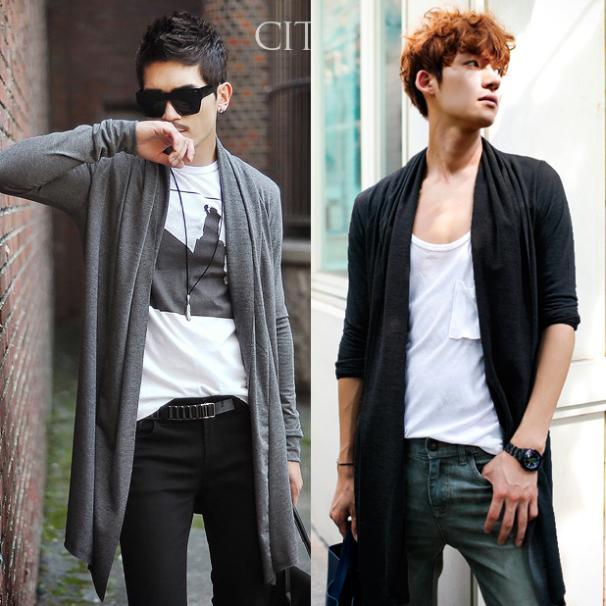Long Cardigan Men 2020 Open Front Cardigans Outwear Plus Size 7XL 6XL 5XL M Black Grey