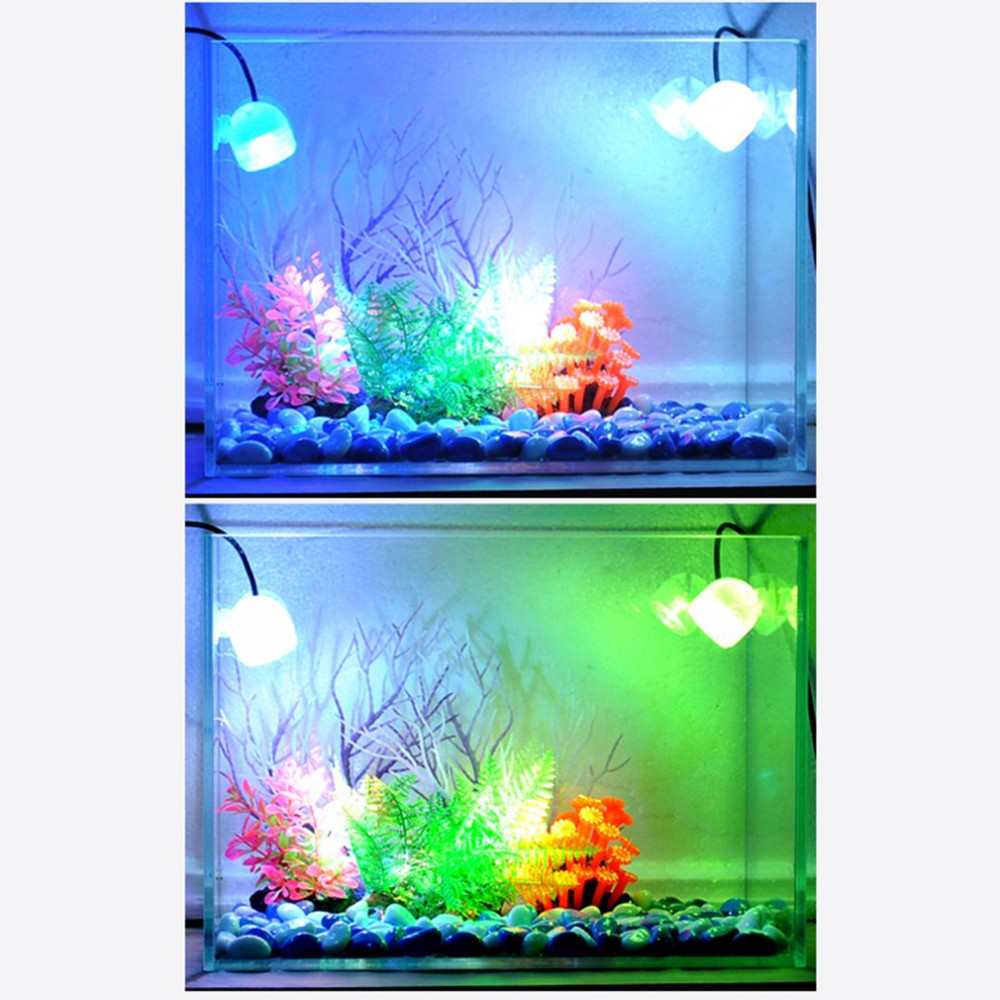 Small Size Aquarium Waterproof LED Spotlight Submersible Light Convex Lens Suction Cup Fish Tank Decorative Lamp Indoor Lighting