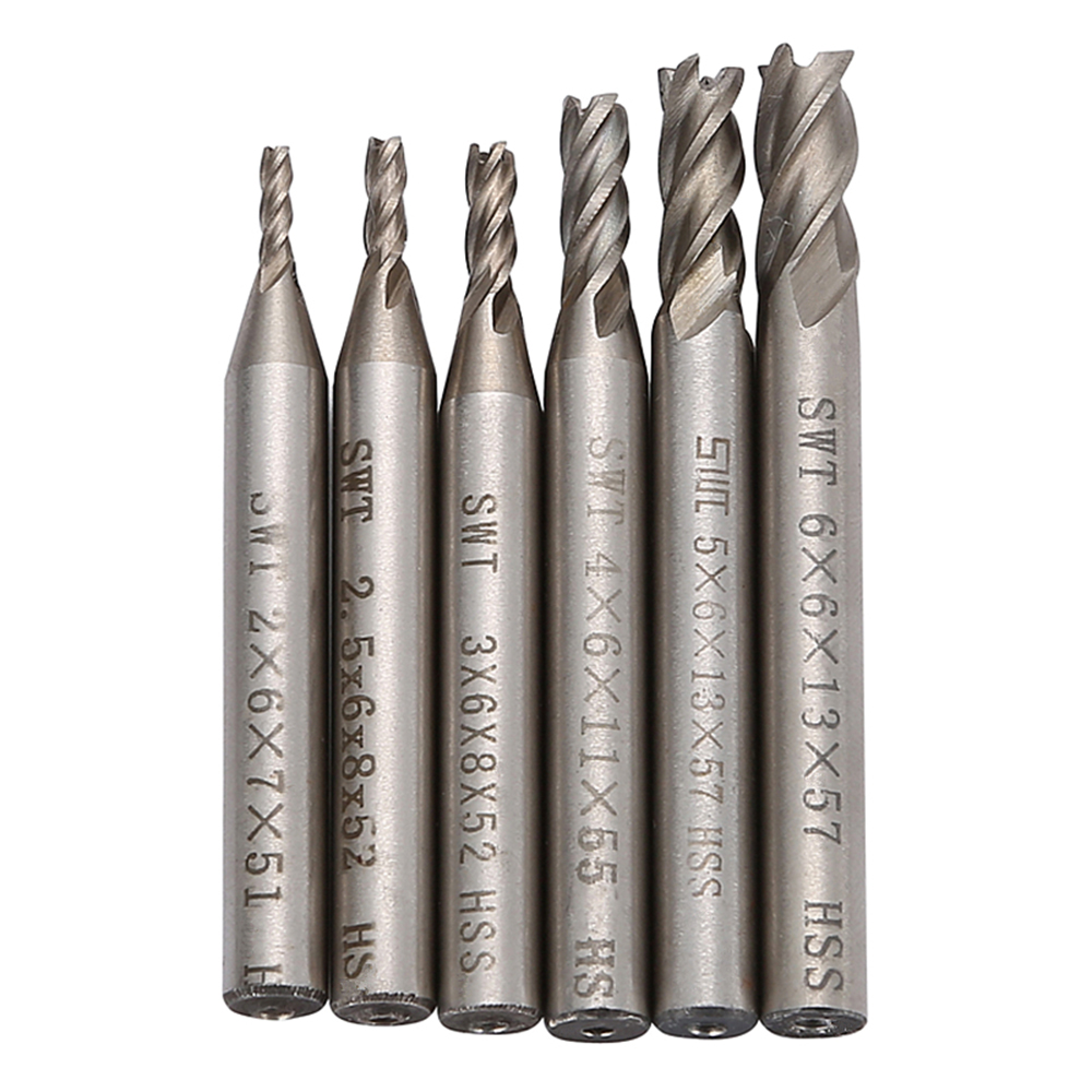 SWT 6pcs/Lot 4 Flutes HHS Mill Router Bit Set Wood Aluminum Drill Bits Straight Shank Carbide End Milling CNC Cutter 2-6mm T0.4 caiman swt 50ex