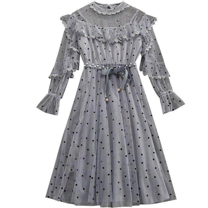 Vintage Rétro Bohème Mori Fille Chic Polka Dot Maille Dentelle À Volants Broderie Perle Robes robe élégante Femmes robe à manches longues