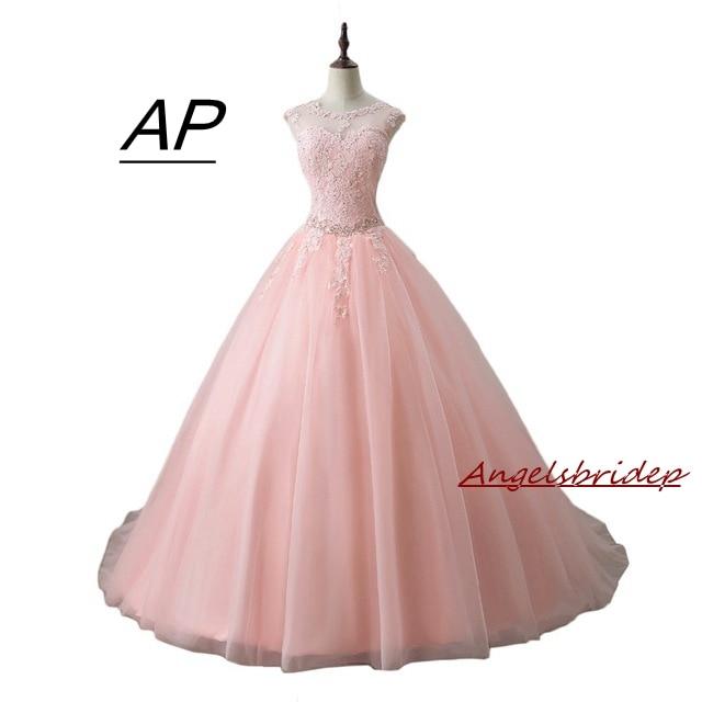 ANGELSBRIDEP Sweet 16 Pink Quinceanera Dress Debutante Gown Sexy Sheer Neck Applique Hollow Back 2019 Celebrity