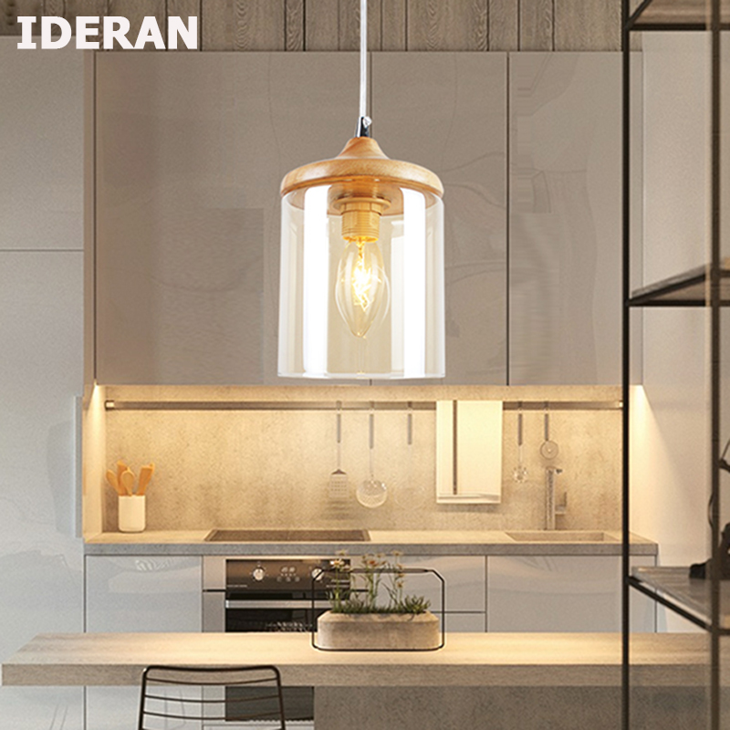 IDERAN Modern Wood Pendant Lights  Lamparas amber glass lamp shade Luminaire Dining Room Lights Pendant Lamp For Home Lighting
