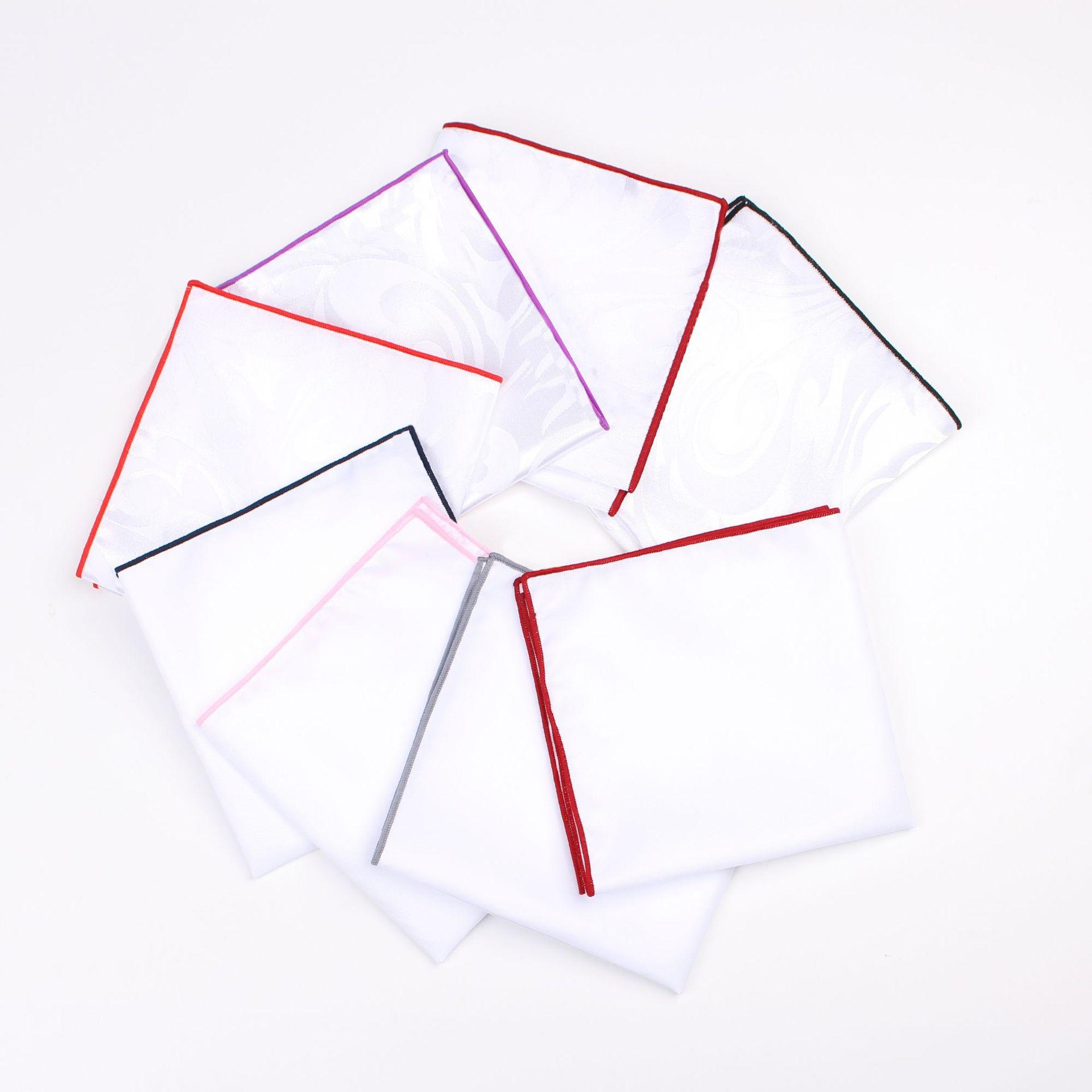 Simple Fashion High Quality Handkerchief Business Men's Dress Solid Color Pocket Accessories Cotton Handkerchief White