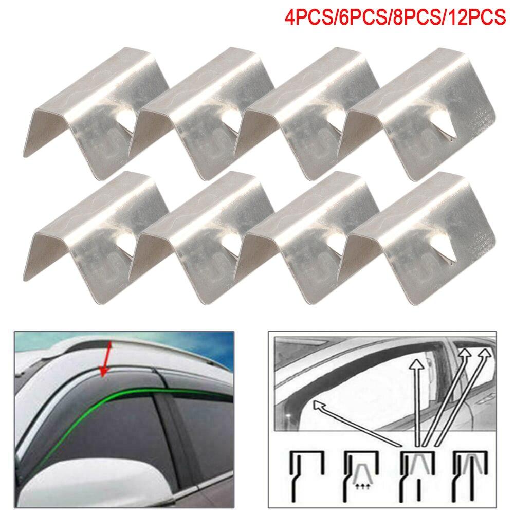 Vento chuva defletor canal clipes de retenção aço inoxidável para heko g3 sned clipe 4 pçs 6 pçs 12 acessórios do carro YC101529-SL