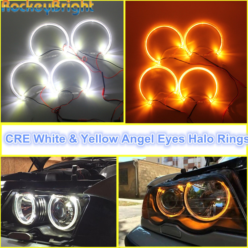 цена на Rockeybright 1set Angel Eyes Kit For BMW E36 E38 E39 E46 Warm White Halo Ring for BMW E46 131mm*4 Halo Rings Light Angel Eye