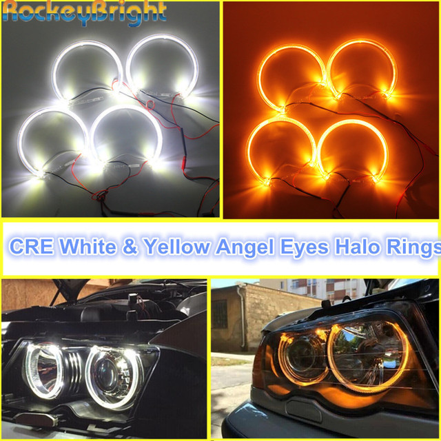 Rockeybright 1set Angel Eyes Kit For BMW E36 E38 E39 E46 Warm White Halo Ring for BMW E46 131mm*4 Halo Rings Light Angel Eye