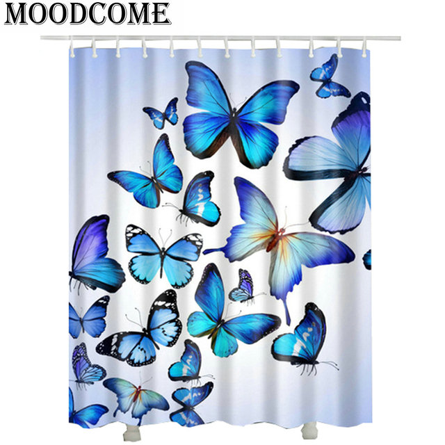 Blue Butterfly Shower Curtains 2017 New Design Hot Sale Waterproof 3D Bathroom Curtain