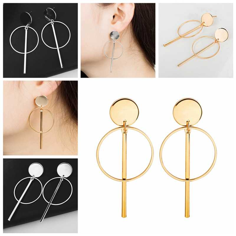 New Fashion Earrings Punk Simple Gold / Silver / Long Tassel Pendant Size Circle Earrings For Ladies Gifts Wholesale
