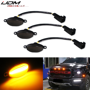 iJMD (3) Truck 4x4 grille Lamps White/Amber yellow LED For 2010-2014 and 2017-up Ford Raptor grille Lamps parking driving light