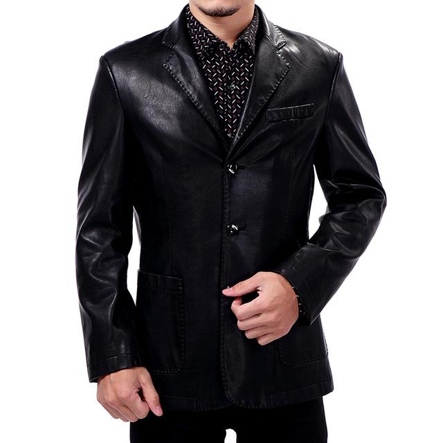 2013 otoño invierno hombre chaqueta piel genuina única de cuero breasted traje casual hombres de la chaqueta de cuero, m-xxxl, envío gratis