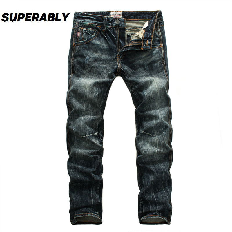 цены на Superably Brand Jeans Men Dark Color Soft Denim Pants Stretch Straight Slim Fit Men Jeans High Quality Cotton Ripped Jeans Homme