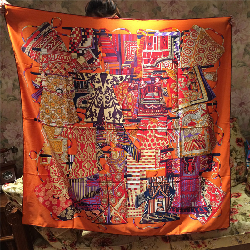 Ethnic Style Jinyi Pattern Printed 100% Real Silk Square Scarf Shawls Women Coat Wraps Headscarf Poncho 135*135cm