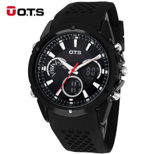 OTS Спортивные Часы dual time Auto LED Дата День Сигнализация Черный Резиновая Лента Аналоговый Кварцевые Военные Цифровые Часы relógio