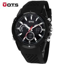 OTS Sportuhr dual time Auto Datum LED Alarm Schwarz Gummiband Analog Quarz Military Männer Digitaluhren relogio
