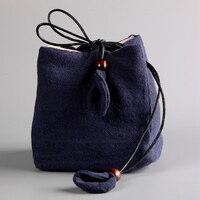 Travel Tea Sets Package Drawstring Bag Chinese Style Linen Teapot Bag 1 Pot 1 Cups Sack