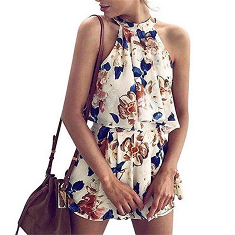 2020 Summer Women Printing High Waist Shorts Backless Tank Top 2 Pieces Set Ladies Floral Elegant Hot Pants Vest Playsuit