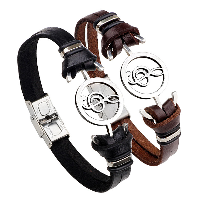 Hot Vintage Musical Notes Stainless Steel Pu Leather Bracelet For Men Hand Ring Cuff Bracelets Bangles Bieklik Fashion Jewelry