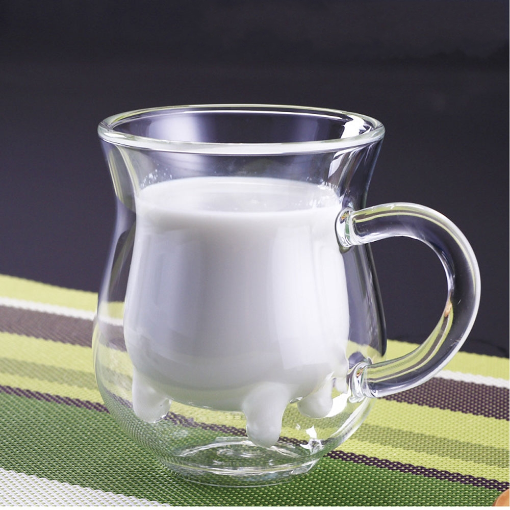 Creative Cow Milk Cup Mug Cute Double Layers Heat-resistant Glass Cups Milk for Kids Drink Water Juice Coffee Container Mugs