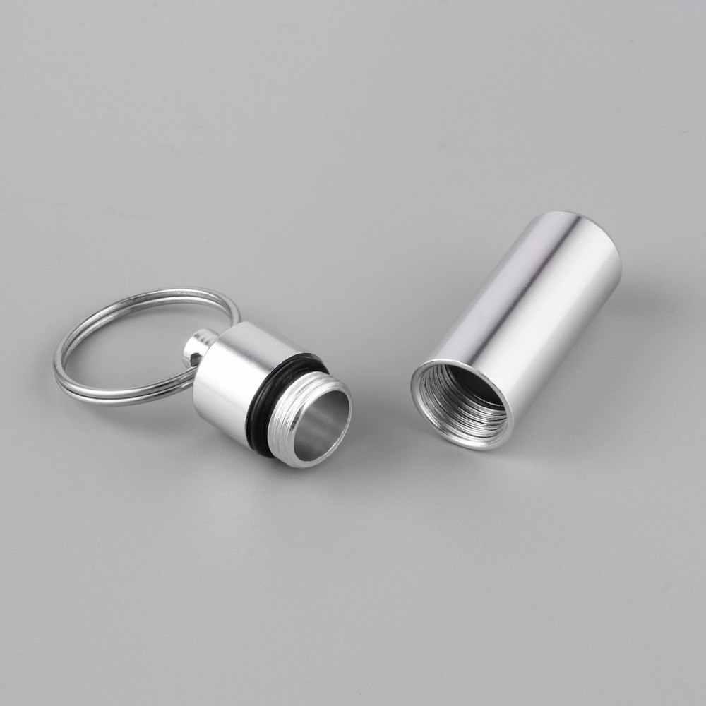 1pc À Prova D' Água Chaveiro Mini Portátil Prata Alumínio Pill Box Vasilhames Cache Drogas Titular Container Com Porta-Chaves recém