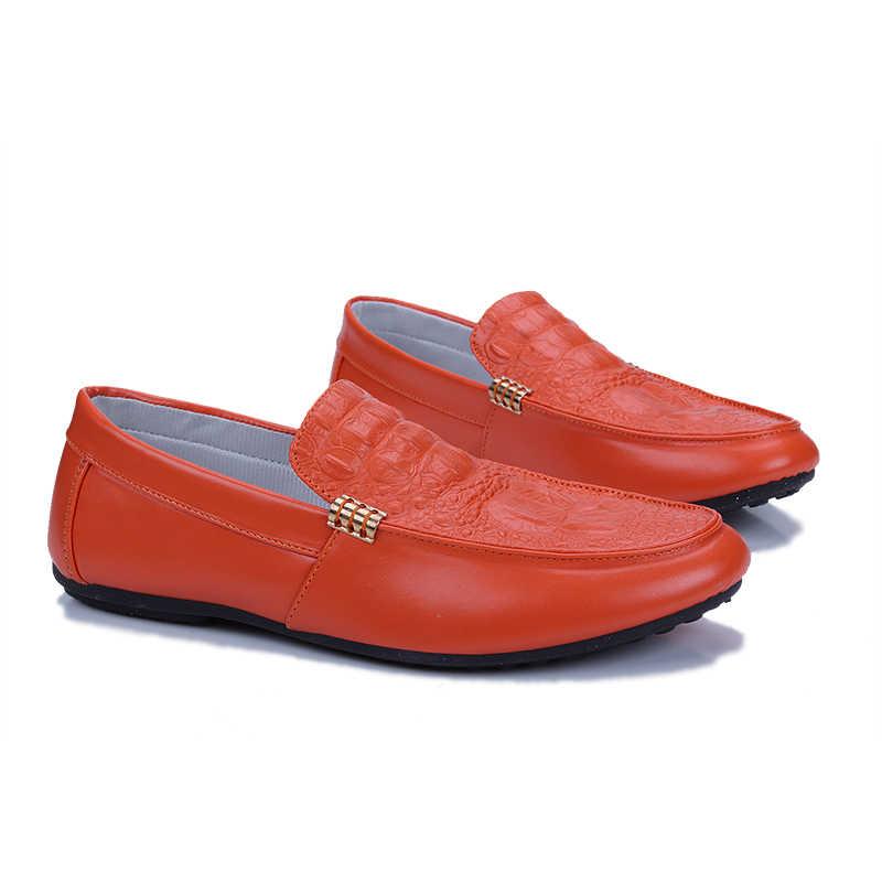 LINGGE ผู้ชายหนัง Loafers ฤดูใบไม้ผลิฤดูใบไม้ร่วง Slip บน Loafers รองเท้าสำหรับชายรองเท้าขับรถ