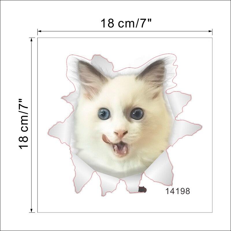 Cats Dog 3D Wall Sticker Bathroom Toilet Living Room Kitchen Decoration Animal Vinyl Art Sticker Poster 18