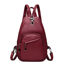 2019 New Women Leather Backpacks Chest Vintage Back Pack Sac A Dos Female Designer Brand for Teenage Girls