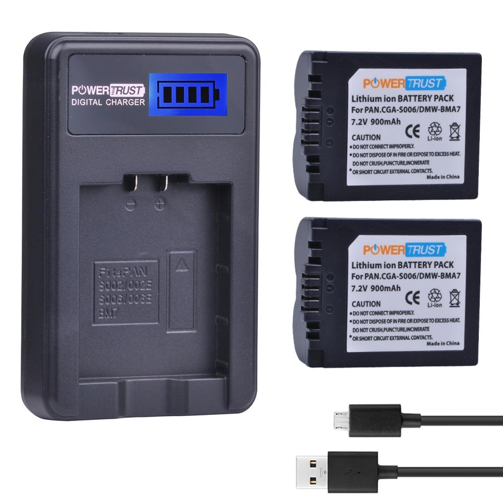 2Pcs CGA-S006 CGR CGA S006E S006A S006 DMW-BMA7 DMW BMA7 Battery +LCD USB Charger for Panasonic DMC FZ7 FZ8 FZ18 FZ28 FZ30 FZ35